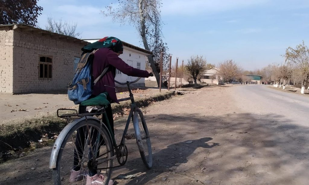 Nilufar Rajabova has to go to school by bicycle. Photo: CABAR.asia