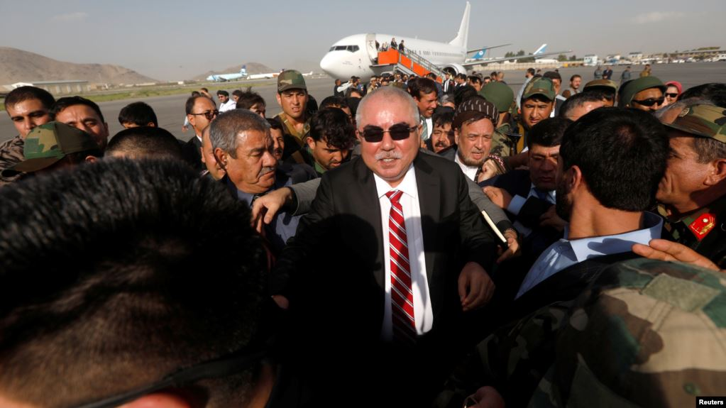Abdul Rashid Dostum at Kabul Airport after returning from Turkey: Photo Reuters