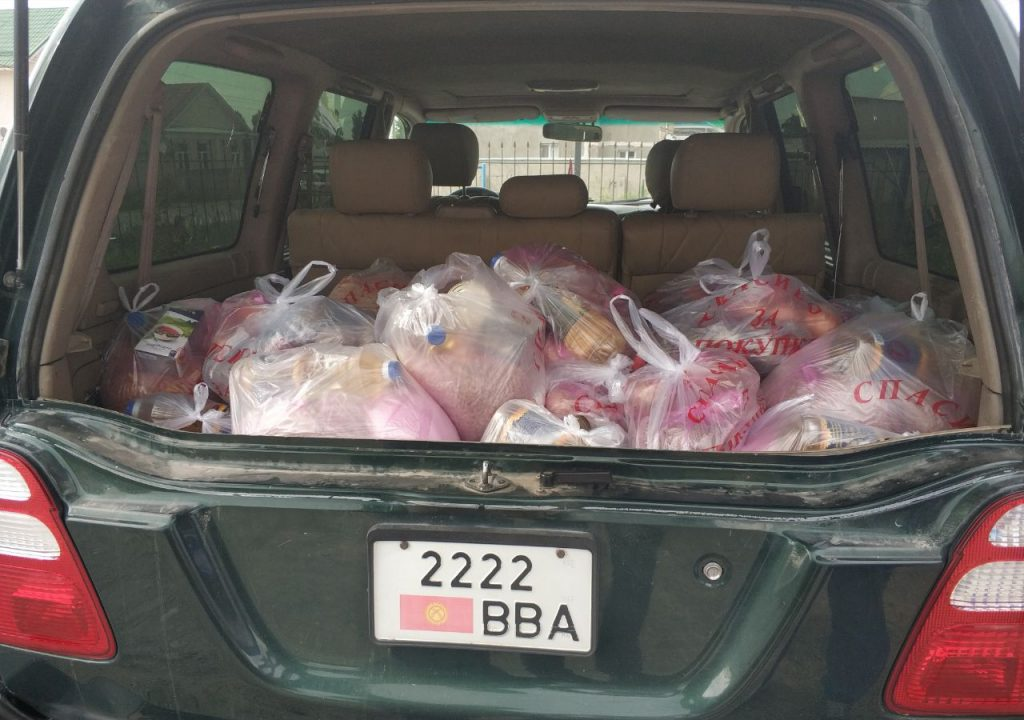 Food packages from Bishkek volunteers. Photo: Maria Zozulya/CABAR.asia